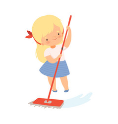Little girl cleaning floor with mop on her own vector