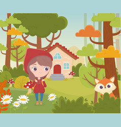 Little red riding hood and wolf house forest fairy vector