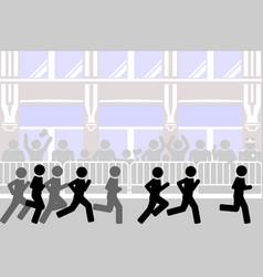 marathon race on streets big city vector image