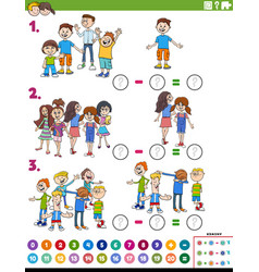 Maths subtraction educational task with comic kids vector