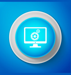 monitor and gears icon isolated on blue background vector image