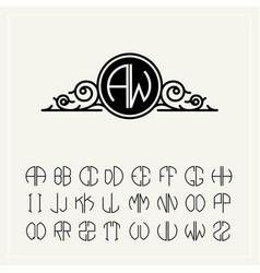 monogram an baroque label with two letters vector image