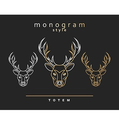 Monogram deer Totem deers Elk Horn Set of vector image