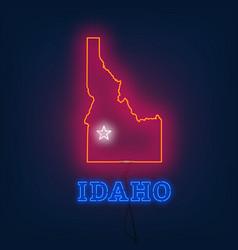 neon map state of idaho on dark background vector image