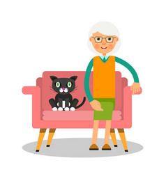 On the sofa sit elderly woman and cat portrait of vector
