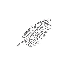 one continuous line drawing tropical leaf fern vector image