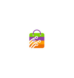online shop bag technology logo vector image