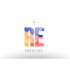 Orange blue alphabet letter re r e logo icon vector