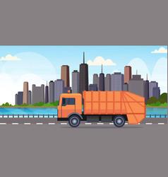 Orange garbage truck urban sanitary vehicle moving vector