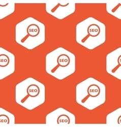 Orange hexagon SEO search pattern vector