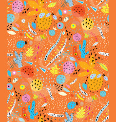 orange shapes abstract collage seamless pattern vector image