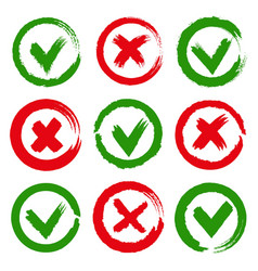 paintbrush yes and no checkmarks vector image