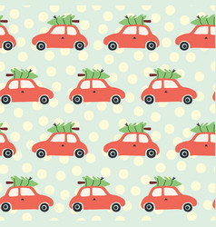 pattern car and christmas tree on roof vector image