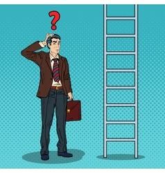 Pop Art Doubtful Businessman Looking Up at Ladder vector