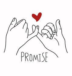 promise outline with red heart concept vector image