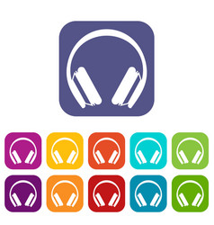 protective headphones icons set vector image