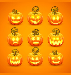 Pumpkin with carved face on a orange background vector
