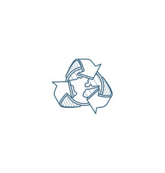 recycle arrows and earth isometric icon 3d line vector image