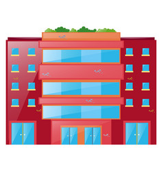red building with glass windows vector image