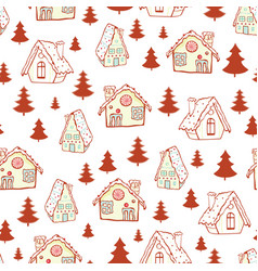 Red gingerbread houses and christmas trees vector