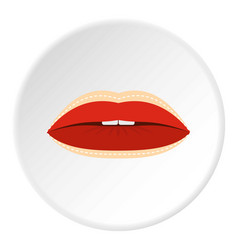 Red lips with lines drawn around it icon circle vector