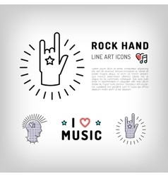 Rock hand sign Punk rock music icons vector image