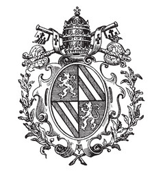 Roman catholic coat arms typically adopts vector