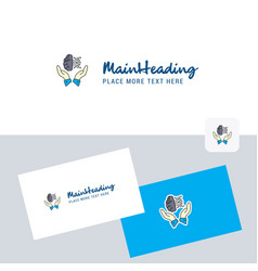 safe cloud logotype with business card template vector image
