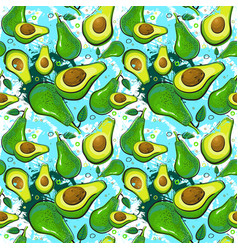 Seamless pattern avocado fruits exotic ornament vector