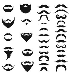 set black icons beards and mustaches vector image