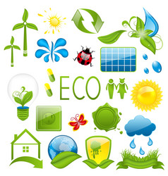 Set of green ecology icons 3 vector image