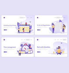 set of landing page templates business planning vector image
