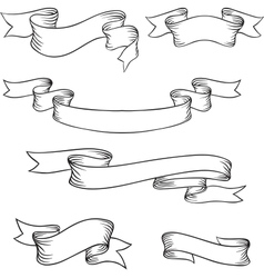 Set retro ribbons and labels vector