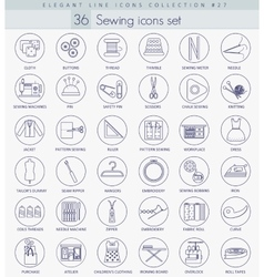Sewing outline icon set Elegant thin line vector image