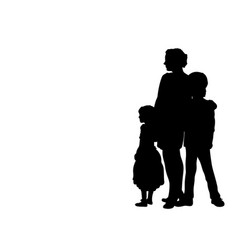 silhouette mother with two children side view vector image