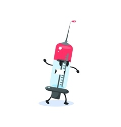 Syringe Cartoon Character vector image