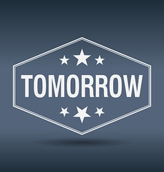Tomorrow hexagonal white vintage retro style label vector
