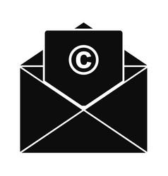 Trademark envelope icon simple style vector