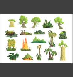 tropical jungle landscape set design elements for vector image