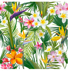 Tropical palm leaves flowers seamless background vector