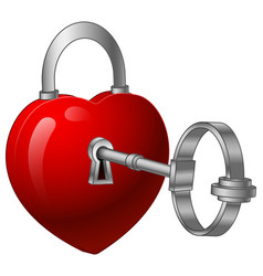 unlock heart with a silver key vector image
