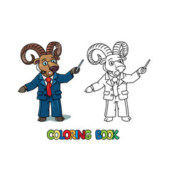 Urial or ram university lecturer abc coloring book vector