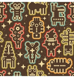 Vintage seamless texture with robots vector