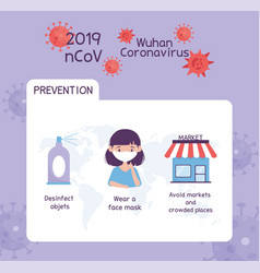 Virus covid 19 prevention infographic disinfect vector