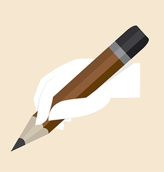 White hand with big pencil vector image