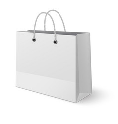 white paper classic shopping bag isolated on vector image