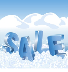 Winter sale blue tags in white snow vector image