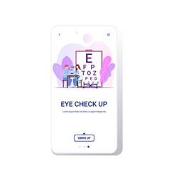 woman optician examining eye vision male vector image