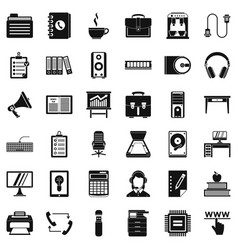 Work briefcase icons set simple style vector