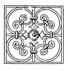 Wrought-iron square panel is a french 17th vector
